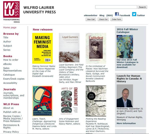 Wilfrid Laurier University Press website lets small team to do big